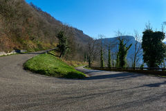 Baume-les-Messieurs. Mountain road in Baume-les-Messieurs village. France stock image