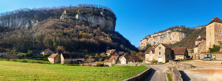 Baume-les-Messieurs. Panorama of a Baume-les-Messieurs village. Jura department of Franche-Comte. Baume-les-Messieurs is classified as one of the most beautiful stock image