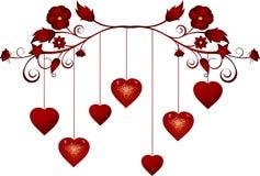 Baumelnde Valentinsgrußinnere Stockbilder