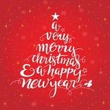 Baumformtypographie der frohen Weihnachten handgeschriebene vektor abbildung