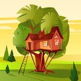 Baumhaus in der Waldvektorillustration stock abbildung