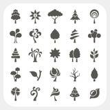 Baumikonen eingestellt auf weißen Hintergrund stock abbildung