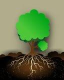 Baumillustration mit Grünblättern und -wurzeln Stockfotos