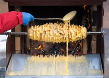 Baumkuchen sekacz baking process Stock Image