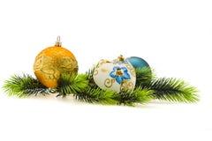 Baumkugeln des Jahres. Weihnachten, neues Jahr Stockfotografie
