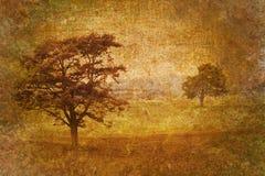Baummotiv auf altem Weinlesehintergrund Stockfotografie