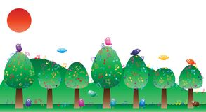 Baummusikanmerkungs-Vogelkarte lizenzfreie abbildung