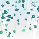 Baumnatur im Winter verlässt fallender Streuung weißes Konzept lizenzfreie abbildung