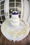 Baumreihe Hochzeits-Kuchen am Strandhaus Lizenzfreie Stockfotografie