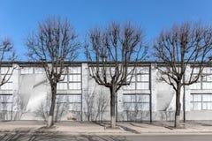 Baumschattenbilder vor Wand des alten Industriegebäudes Lizenzfreie Stockfotografie