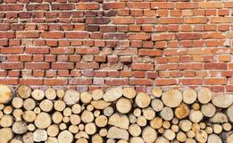 Baumstümpfe gespeichert durch alte Backsteinmauer als Hintergrund Lizenzfreie Stockfotos