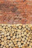 Baumstümpfe und alte Backsteinmauer als Hintergrund Stockfotografie