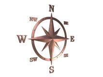 Baumuster 3d des kupfernen Kompassses mit Ausschnittspfad Lizenzfreie Stockfotos