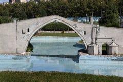 Baumuster der Malabadi Brücke Stockfotografie