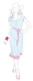 Baumuster des schönen Mädchens in einem Sommerkleid Stockfoto