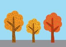 Baumvektor eingestellt auf Farbhintergrund Stockfotos
