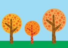 Baumvektor eingestellt auf Farbhintergrund Stockbilder