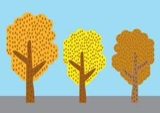 Baumvektor eingestellt auf Farbhintergrund Stockbild