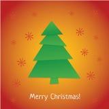 Baumweihnachtsschablonen-Grußkarte des neuen Jahres Lizenzfreies Stockbild