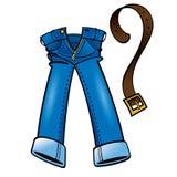 Baumwolldenim Jeans und lederner Gurt Lizenzfreie Stockbilder