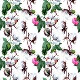 Baumwolle mit Blumenmuster in einer Aquarellart Lizenzfreie Stockfotos