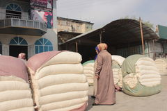 Baumwollmarkt in Osh Stockfotografie