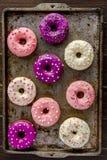 Baunilha cozida fresca Bean Iced Doughnuts Imagem de Stock Royalty Free