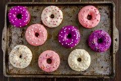 Baunilha cozida fresca Bean Iced Doughnuts Foto de Stock Royalty Free