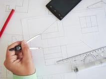 Bauplan lizenzfreie stockfotografie