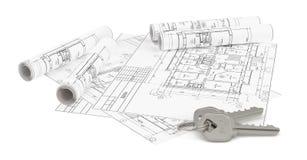 Bauplan für Wohnungsbau und Schlüssel Stockbilder