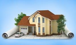 Bauplan mit Haus und Holz 3d Lizenzfreie Stockfotos