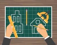 Bauplanplan lizenzfreie abbildung