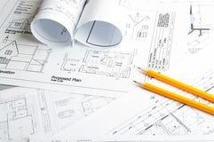 Bauplanungszeichnungen Stockfotografie