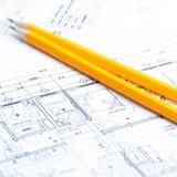 Bauplanungszeichnungen Lizenzfreies Stockbild