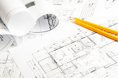 Bauplanungszeichnungen Stockbild