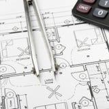 Bauplanungszeichnungen Stockfoto