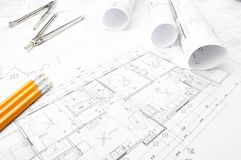 Bauplanungszeichnungen Lizenzfreie Stockbilder