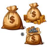 Bauschen Sie sich mit den Gold- und Silbermünzen im Karikaturdesign Stockfotos
