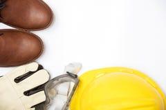 Bausicherheit, Schutzausrüstung auf weißem Hintergrundisolat Stockbilder