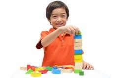Baustein des kleinen Jungen hoch lizenzfreies stockfoto