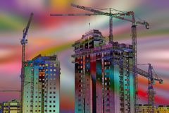 Baustelle über farbigem Hintergrund Lizenzfreie Stockfotos