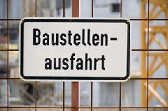Baustelle. Detail of a german building site Royalty Free Stock Image