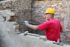 Baustelle, Altbauzerstörung Lizenzfreie Stockfotos