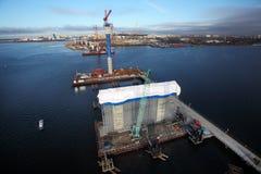Baustelle der Schrägseilbrücke, vorübergehendes technologica Lizenzfreies Stockfoto