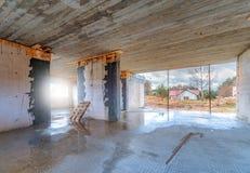Baustelle eines Einfamilienhauses Stockbild