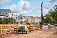 Baustelle in im Stadtzentrum gelegenem Magdeburg Lizenzfreie Stockfotos
