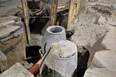 Baustelle, Kanalisation in der Stadt Stockfotos