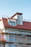 Baustelle mit dem Haus im Bau baugerüst Lizenzfreie Stockfotografie