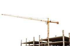 Baustelle mit dem Kran lokalisiert auf Weiß Stockbild