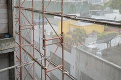 Baustelle mit der Stahlkonstruktion im Bau Stockfoto